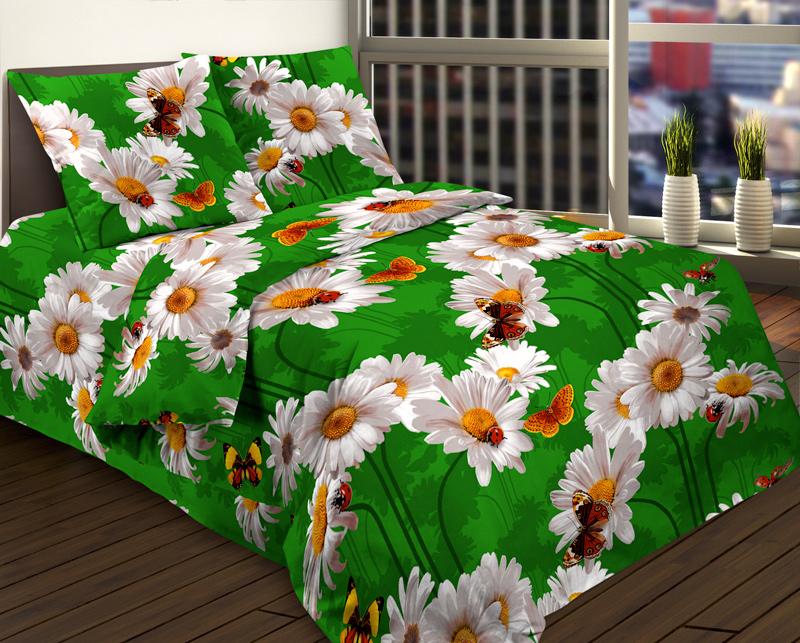 Ткань бязь 150 ГОСТ Ромашки на зеленом фото