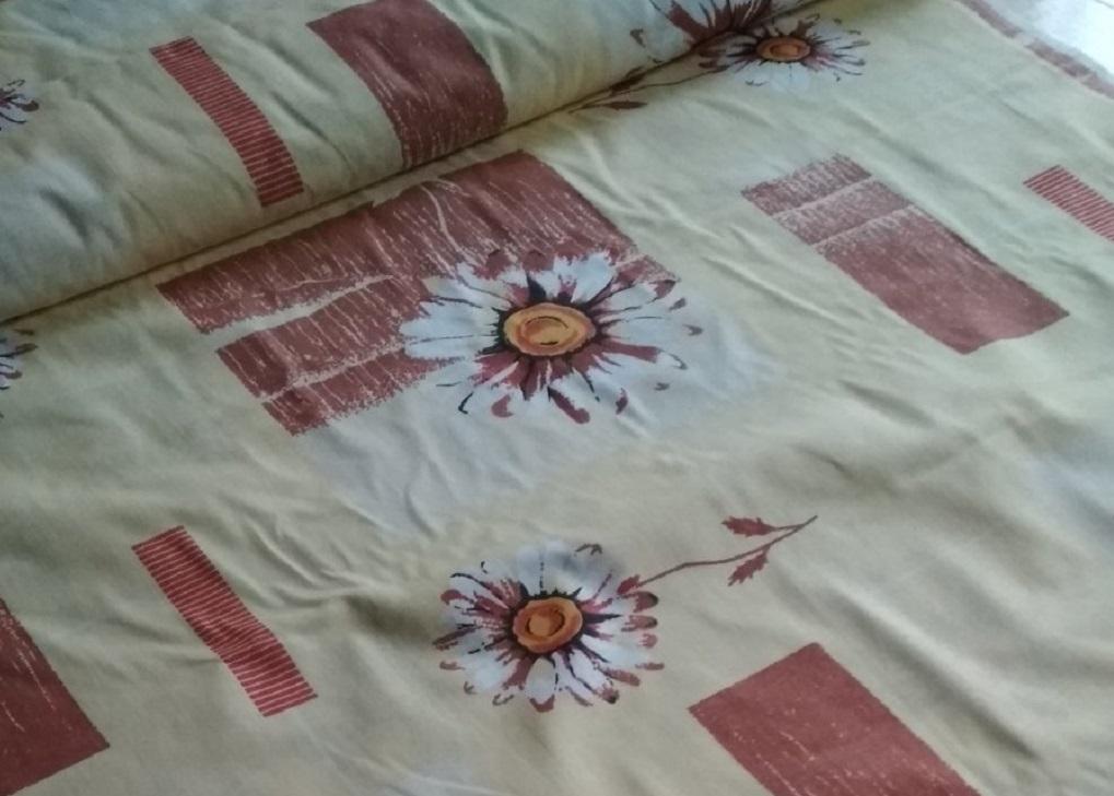 Ткань бязь 150 ГОСТ Ромашки беж фото