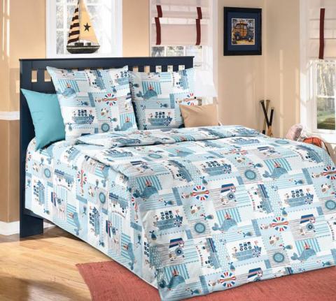Фото Комплект постельного белья Кораблики 1 бязь 1.5 спальный детский А1100197621