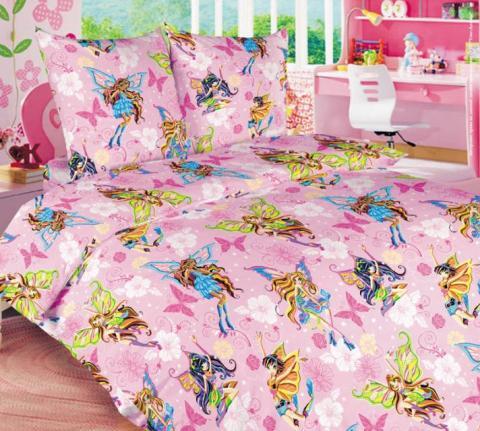 Фото Постельное бельё 1.5 спальное детское перкаль Волшебницы 1 роз