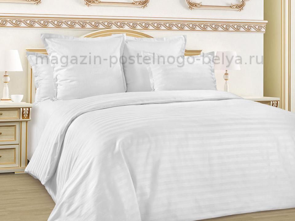 Ткань сатин-страйп белый 240 см Белый фото