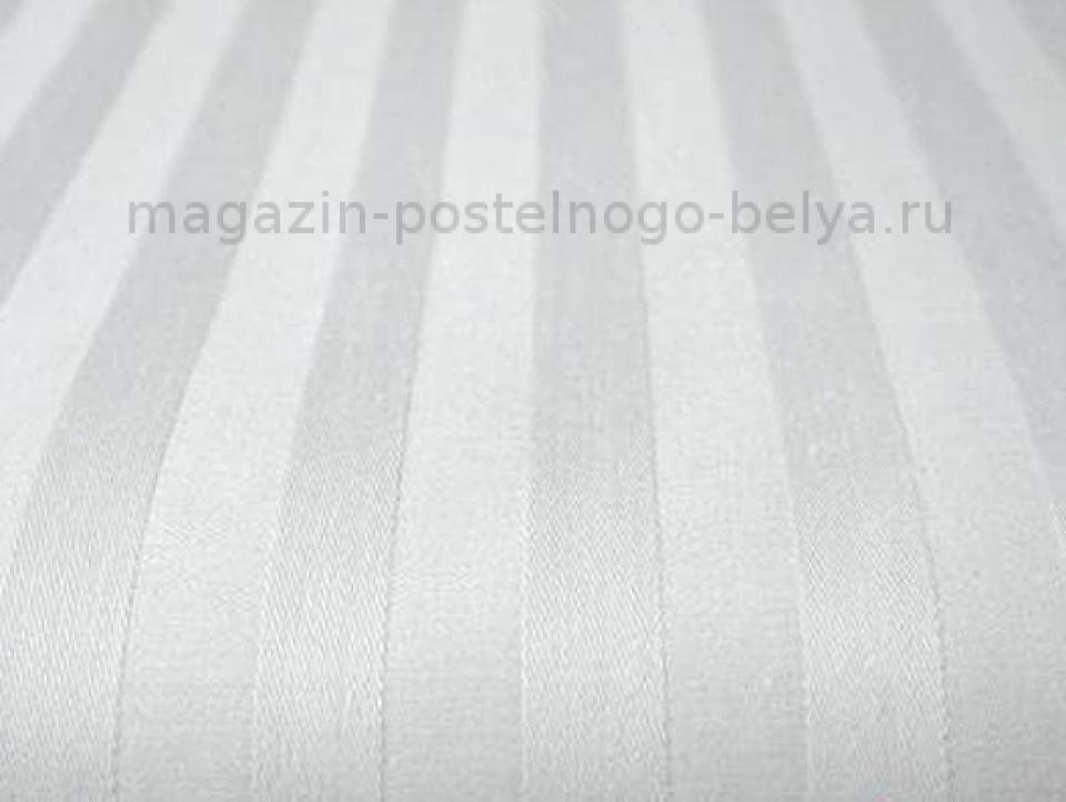 Ткань сатин-страйп белый ширина 240 см полоса 3 см фото
