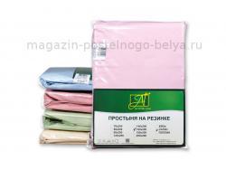 Простыня на резинке 180х200х25 сатин розовая АльВиТек фото