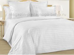 Комплект белого постельного белья 1.5 спальный Сатин 261-028 фото