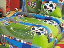 Постельное бельё 1.5 спальное детское перкаль Чемпионат 1 фото