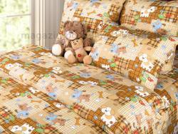 Фото Постельное бельё 1.5 спальное детское перкаль Тузик 1 беж
