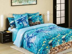 Фото Комплект постельного белья Дельфины 1 перкаль 1.5 спальный 1200П193531