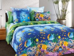 Фото Комплект постельного белья Подводный мир 1 перкаль 1.5 спальный 1200П195011