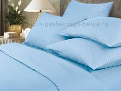 Комплект постельного белья семейный Verossa Сатин-страйп 565-7000 Sky фото