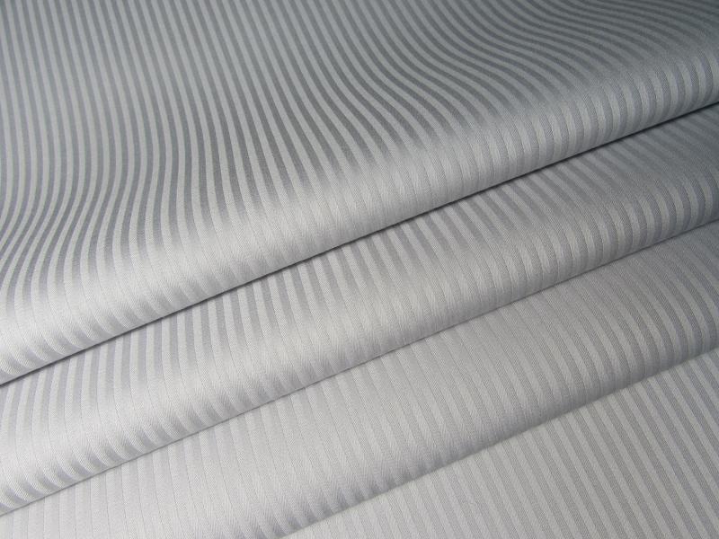 Ткань сатин-страйп 240 см 135 г полоска 0,3 см светло-серый фото